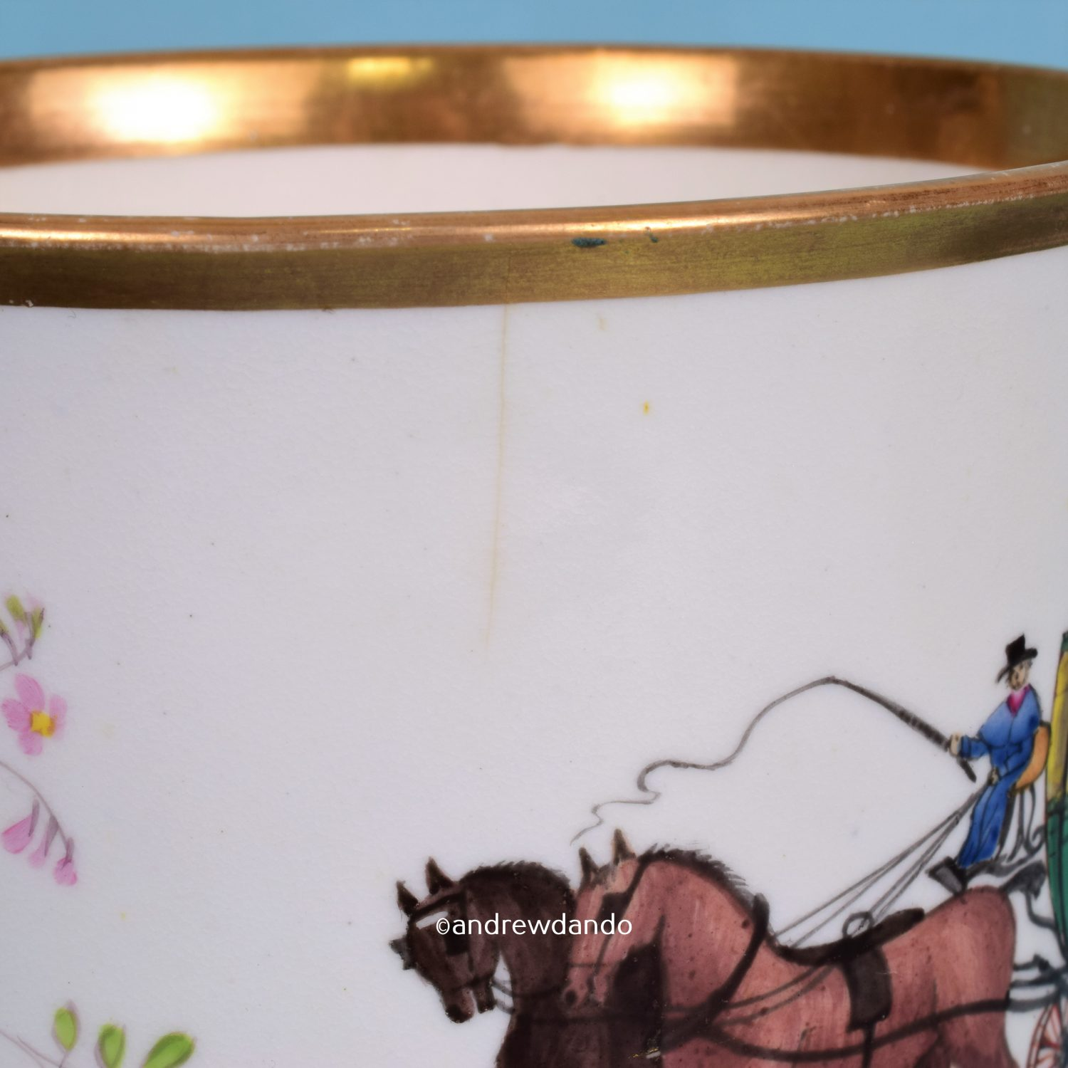 Porcelain Mug with Coaching Scene.