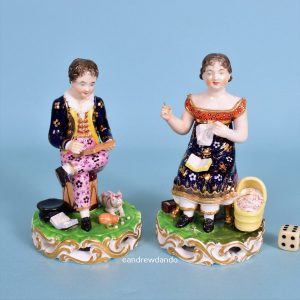 Pair of Derby Figures - Industrious Children.