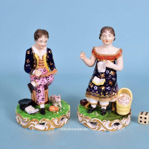 Pair of Derby Figures - Industrious Children.