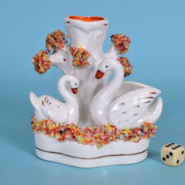 Staffordshire Swans Spill Vase.