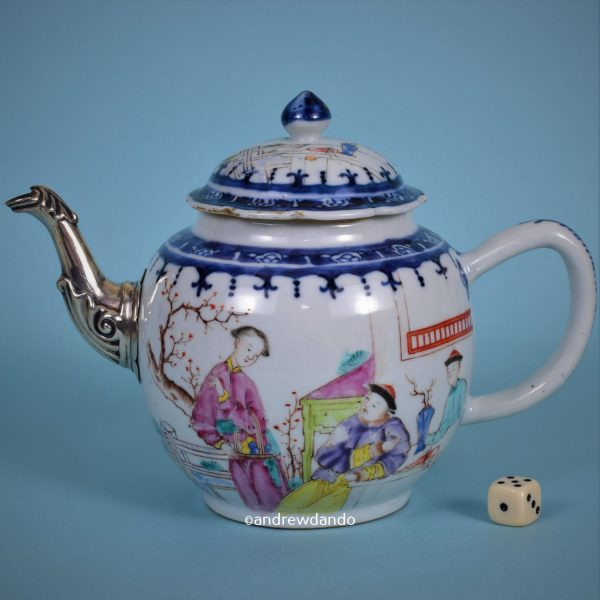 Chinese Export Teapot with Replacement Spout.