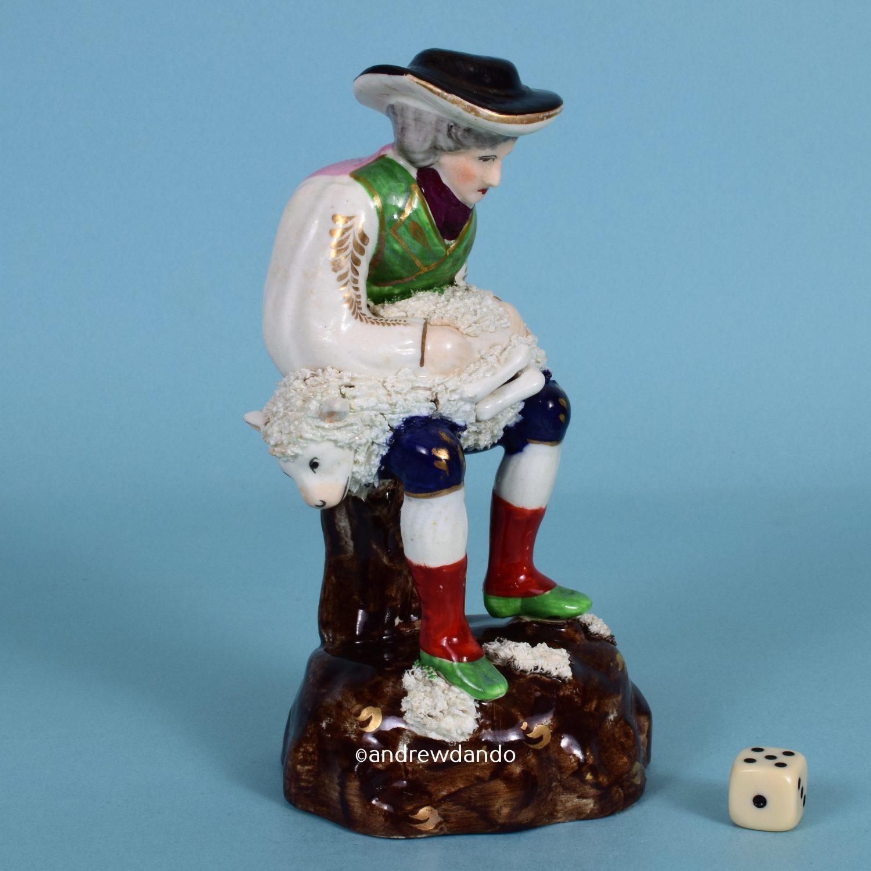Staffordshire Figure of a Sheep Shearer.