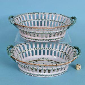Pair of European Faience Baskets.