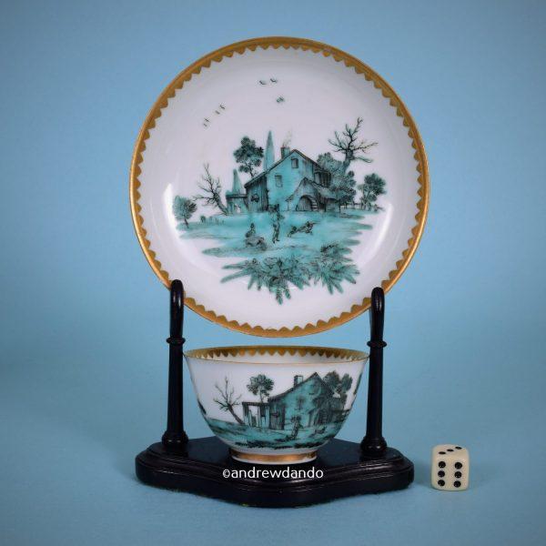 London Decorated Tea Bowl & Saucer.