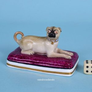 Minton Porcelain Pug Dog on a Maroon Base