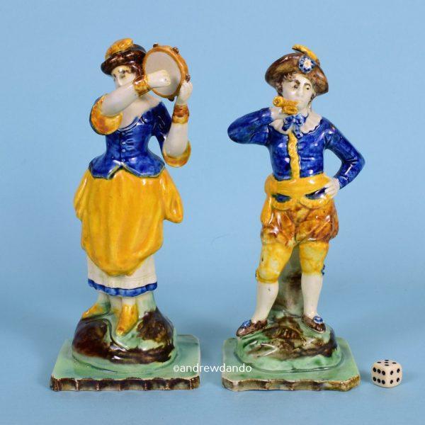 Pair of Pratt Ware Musician Figures.