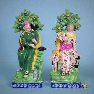 Pair of Staffordshire Figures - Elijah & the Widow.