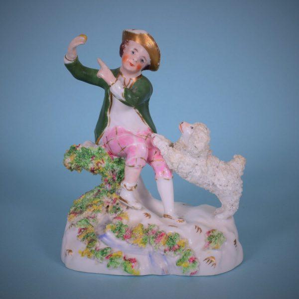 Staffordshire Porcelain Boy With A Poodle.
