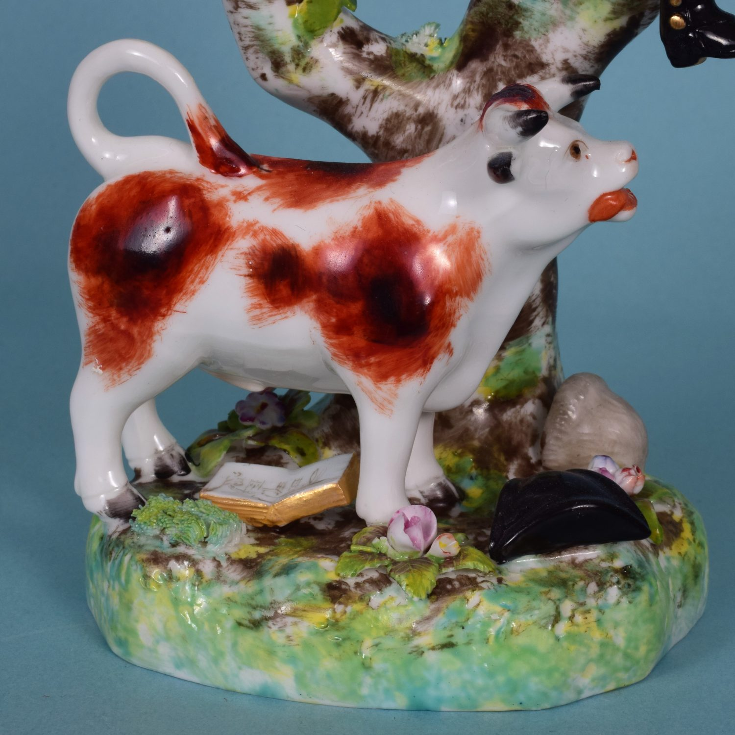 Derby Porcelain Group of Dr Syntax Pursued by a Bull.