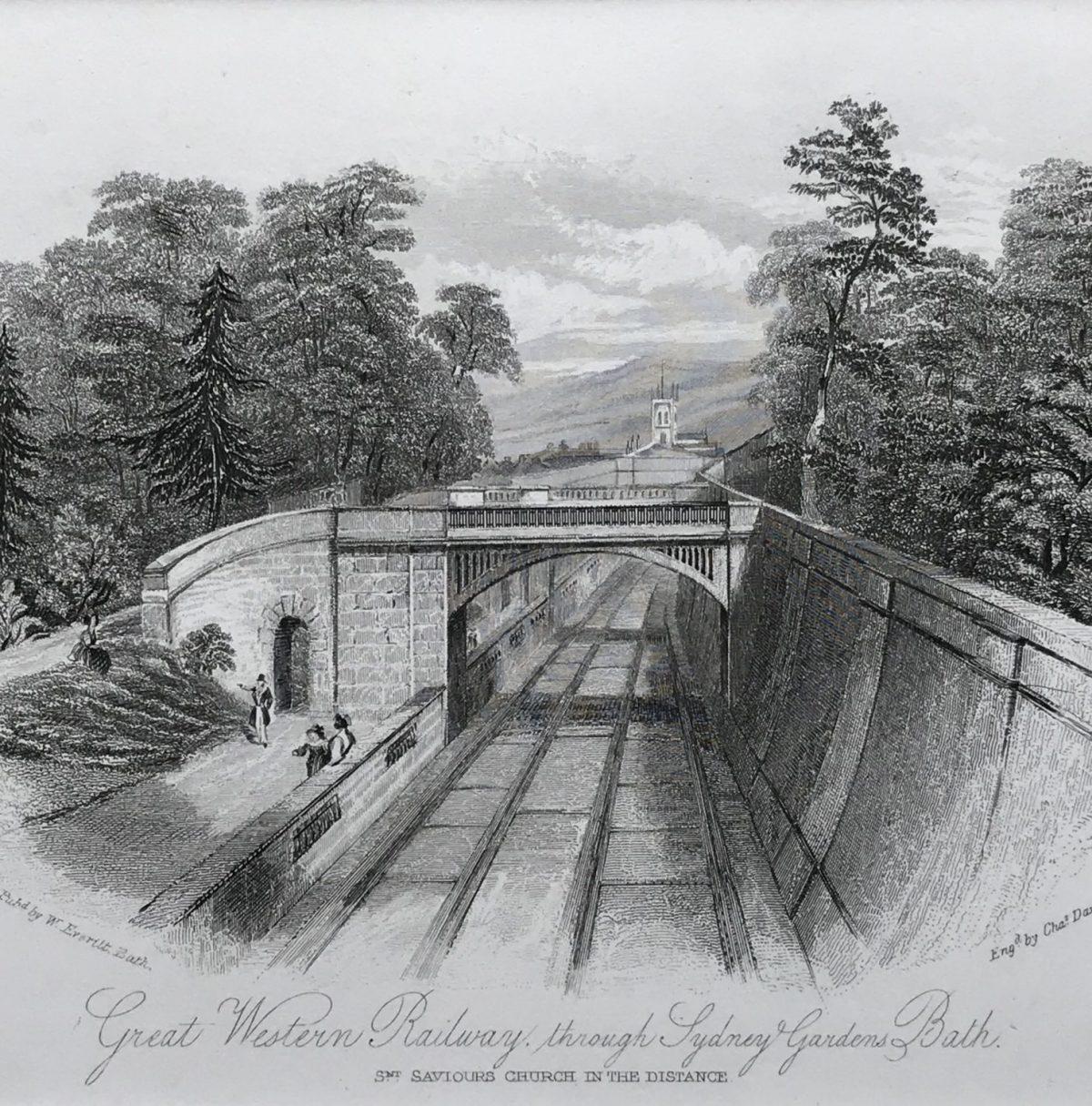 GREAT WESTERN RAILWAY, Sydney Gardens, Bath. C19th Engraving.