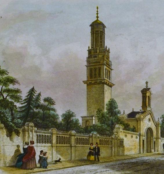 BECKFORD'S TOWER, Nr Bath, Antique Engraving.
