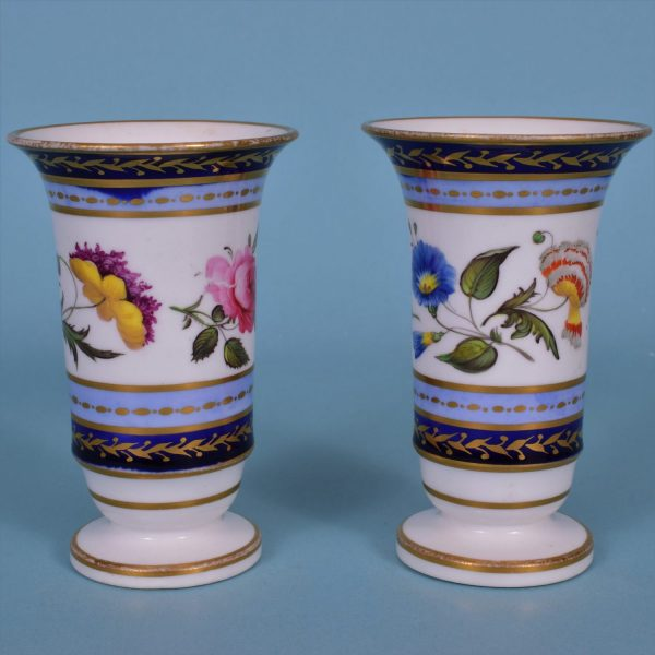 Pair of English Porcelain Spill Vases