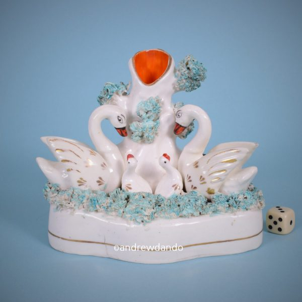 Staffordshire Swans Spill Holder.