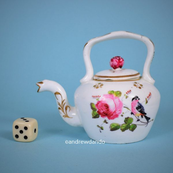 English Porcelain Miniature Tea Kettle.