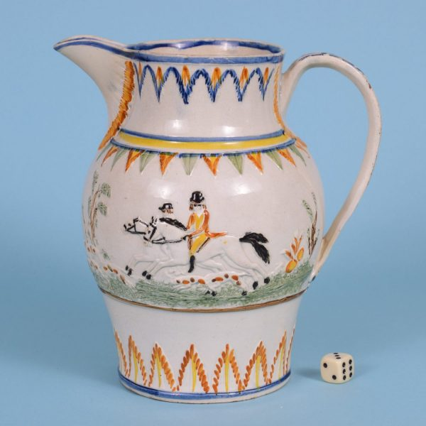 Large Pratt Jug with Hare Coursing Scene