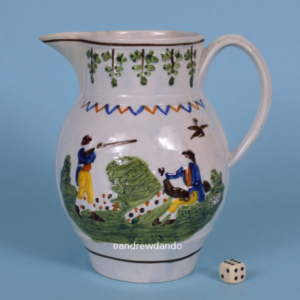 Large Pratt Ware Jug with Shooting Scene.