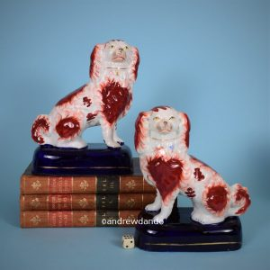Pair of Staffordshire Spaniels on Blue Bases