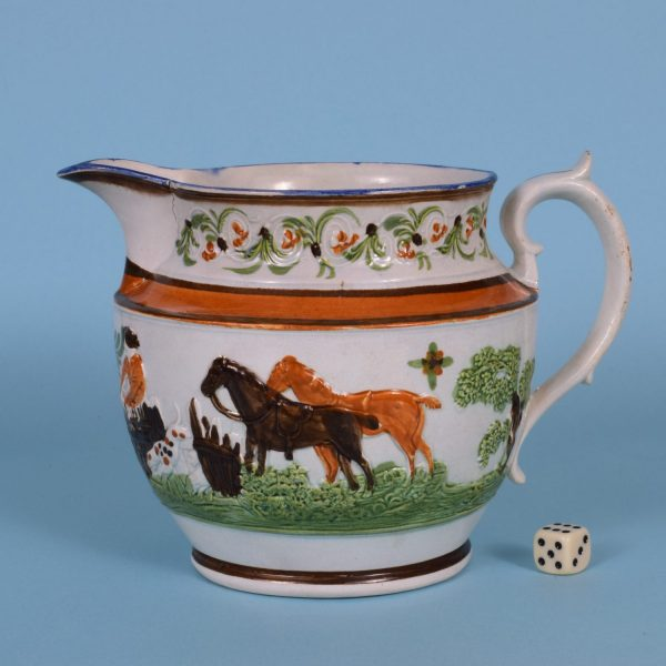 Pratt Jug with Fox Hunting Scene.