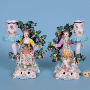 Pr Continental Porcelain Candlestick Figures.