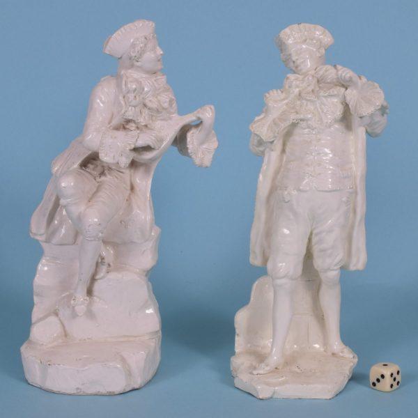 Pair of Italian Creamware Theatrical Figures.