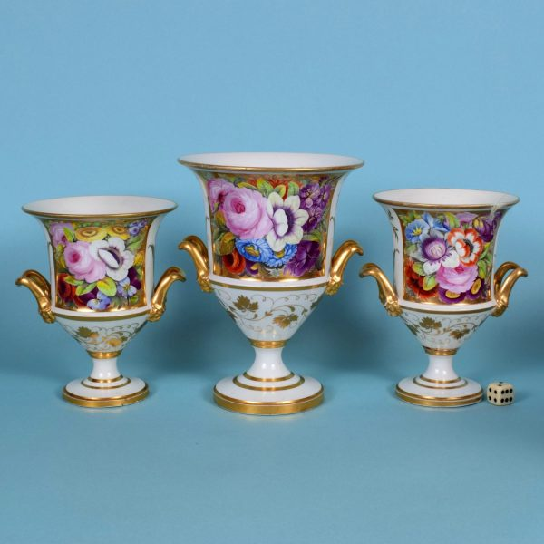 Garniture of English Porcelain Vases