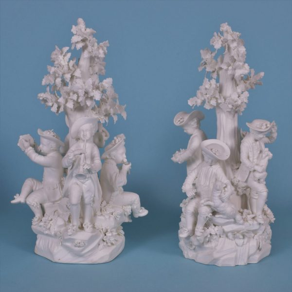 Pr Derby Biscuit Porcelain Figure groups.