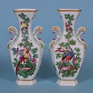 Pair of Chelsea Gold Anchor Vases