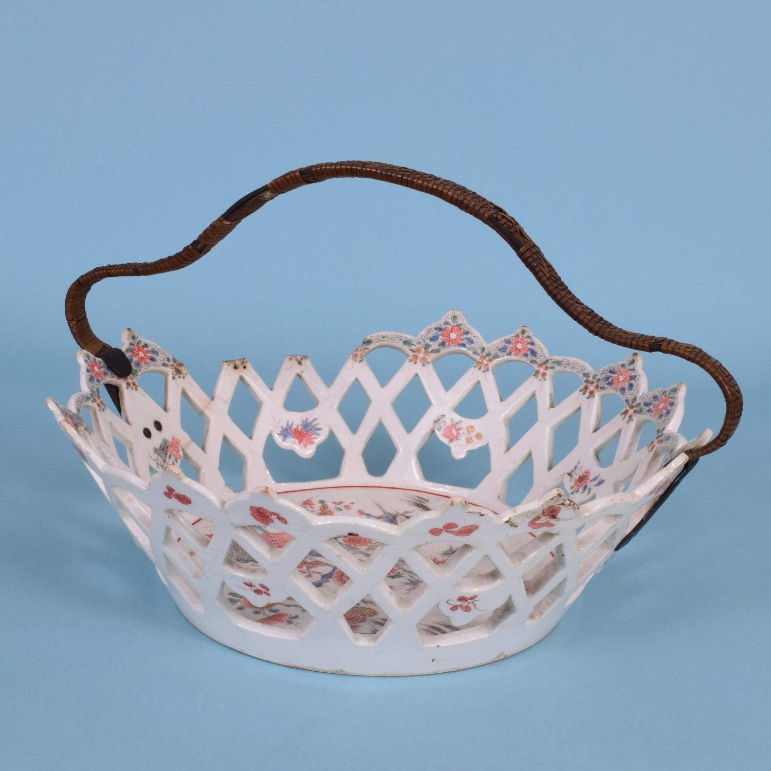 Early Bow Porcelain 'Kakiemon' Basket, c1754