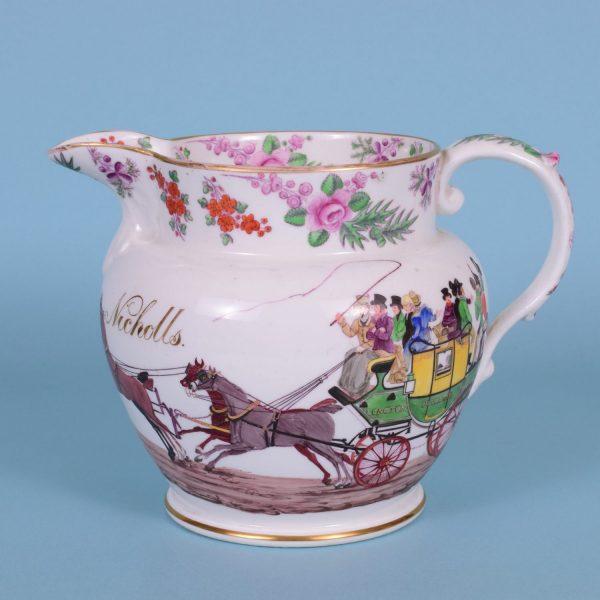 English Porcelain Jug with Coaching Scene.