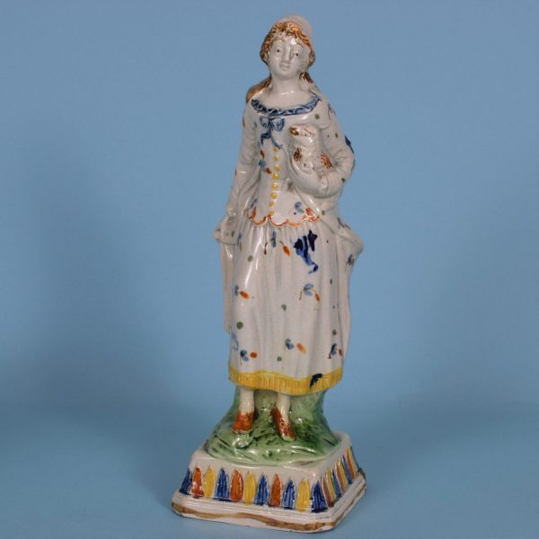 Pratt Ware Figure of a Shepherdess.