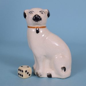 Victorian Pottery Pug Dog.