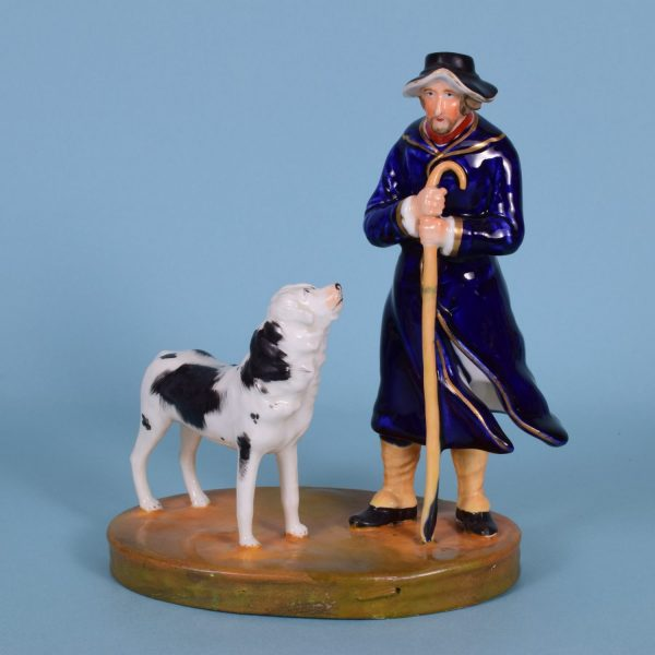 Staffordshire Figure of a Shepherd & his Dog.