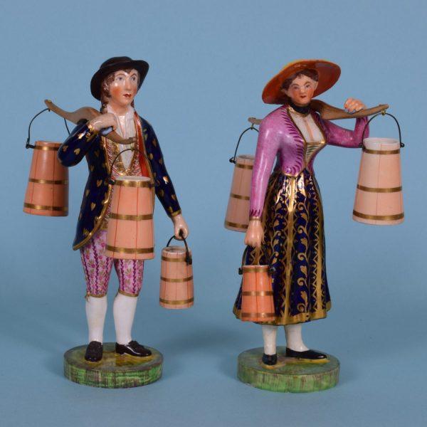Pair of Derby Figures, Milkman & Milkmaid