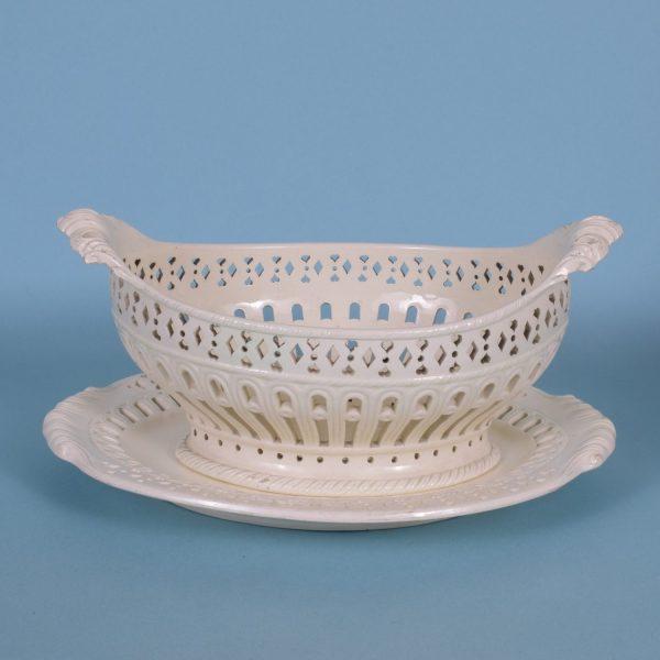 Creamware Basket & Stand.