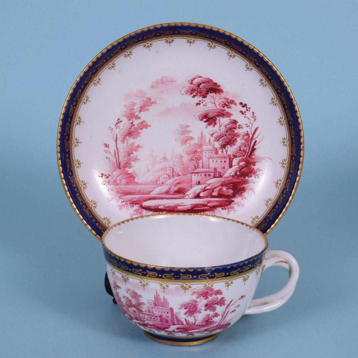 C18th Italian Porcelain Tea Cup & Saucer, c1780