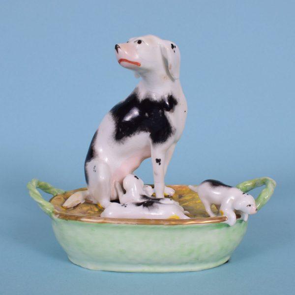 Dog & Puppies in basket