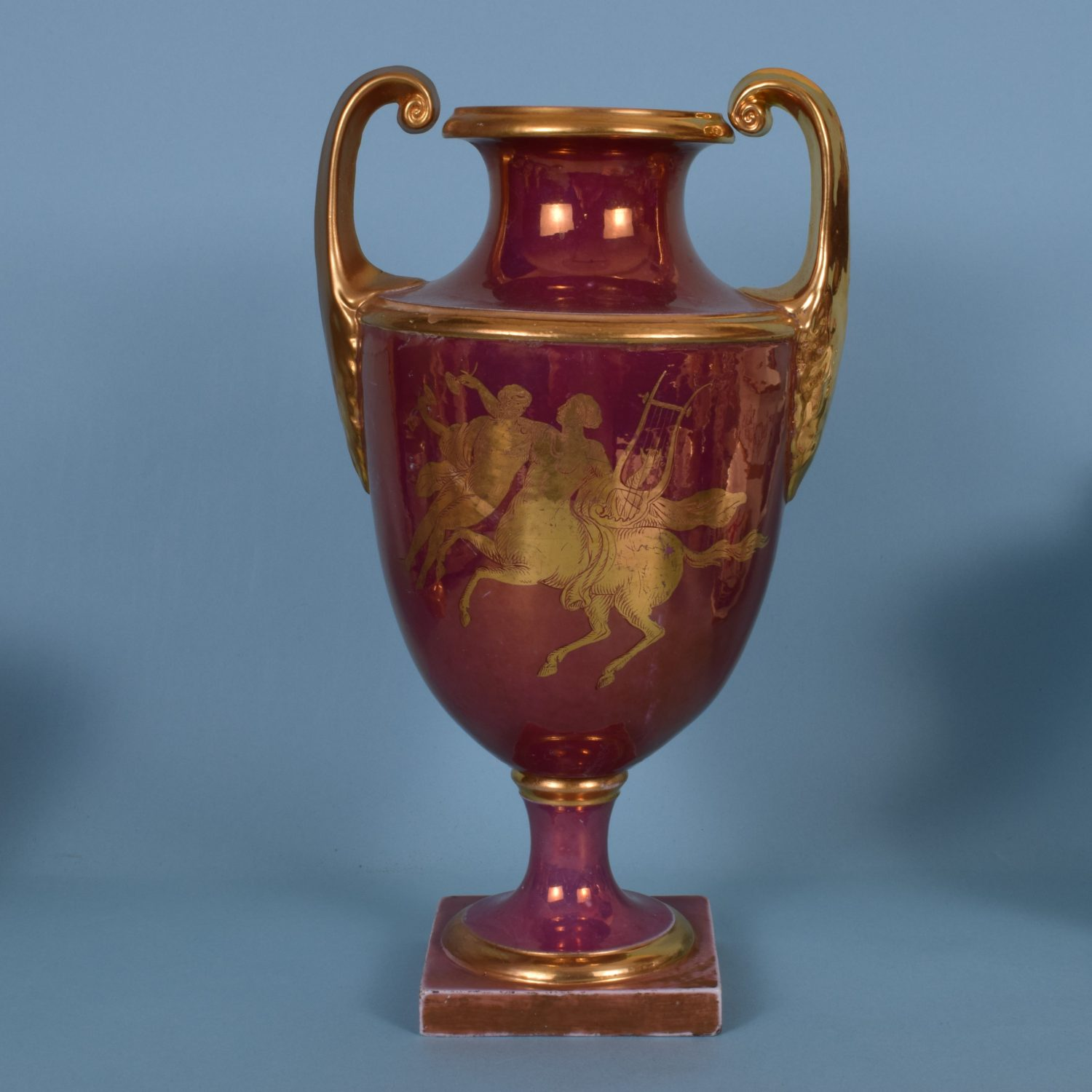 Pink Lustre & Gilt English Porcelain Large Vase, c1810