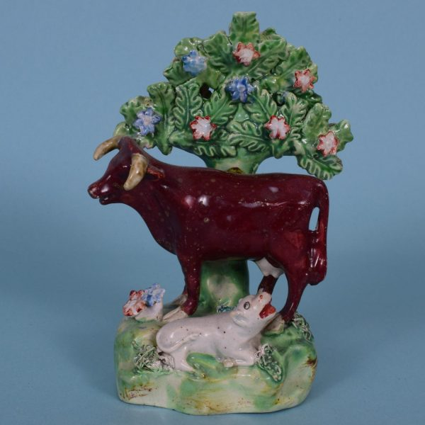Staffordshire Pottery Cow & Calf.