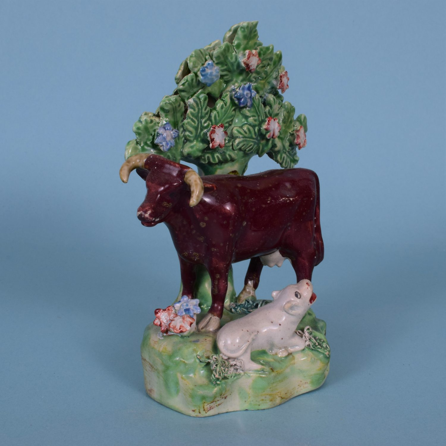 Staffordshire Pottery Cow & Calf With Bocage