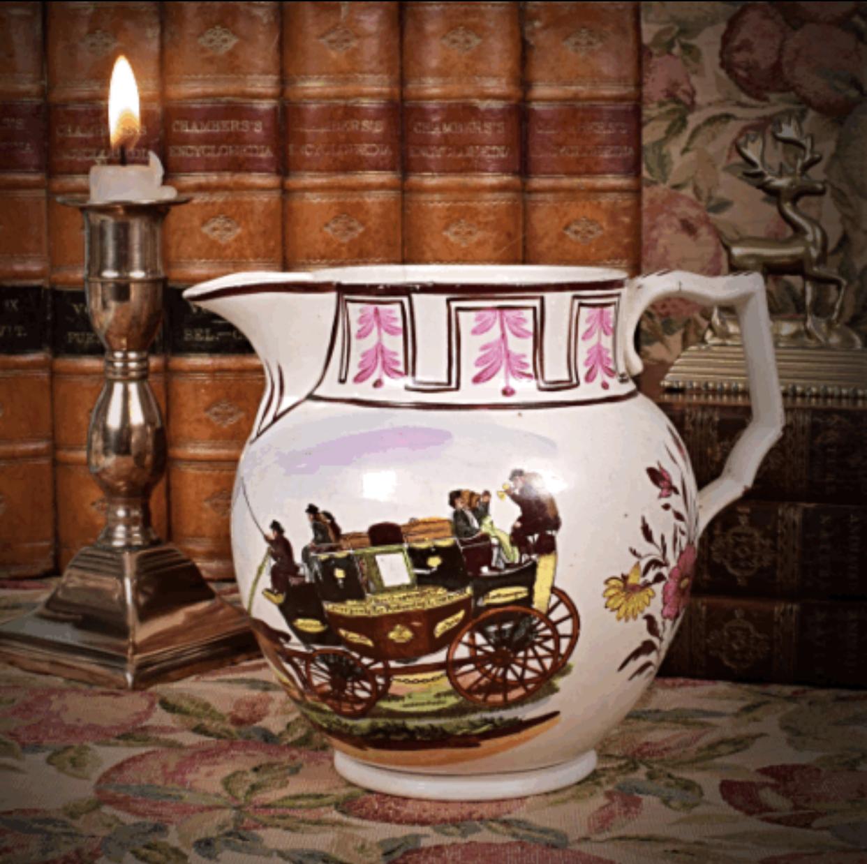 English Pottery Jug with Coaching Scene.
