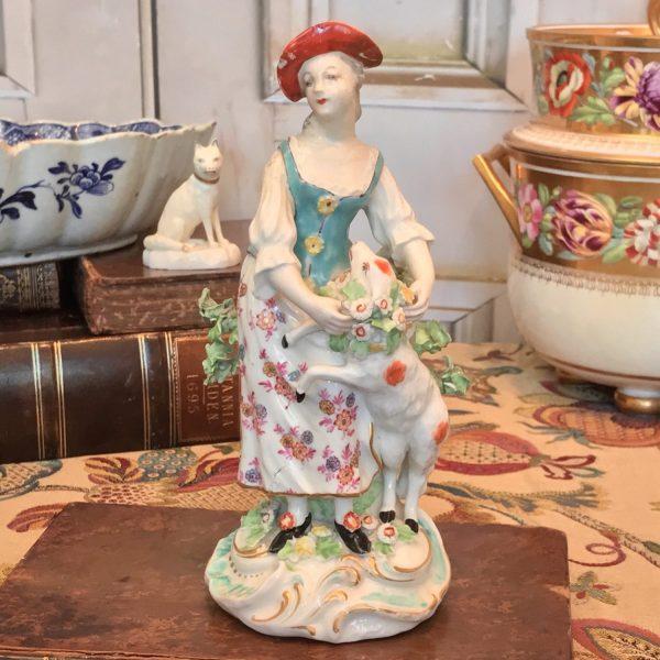 Derby figure of a Shepherdess (af)