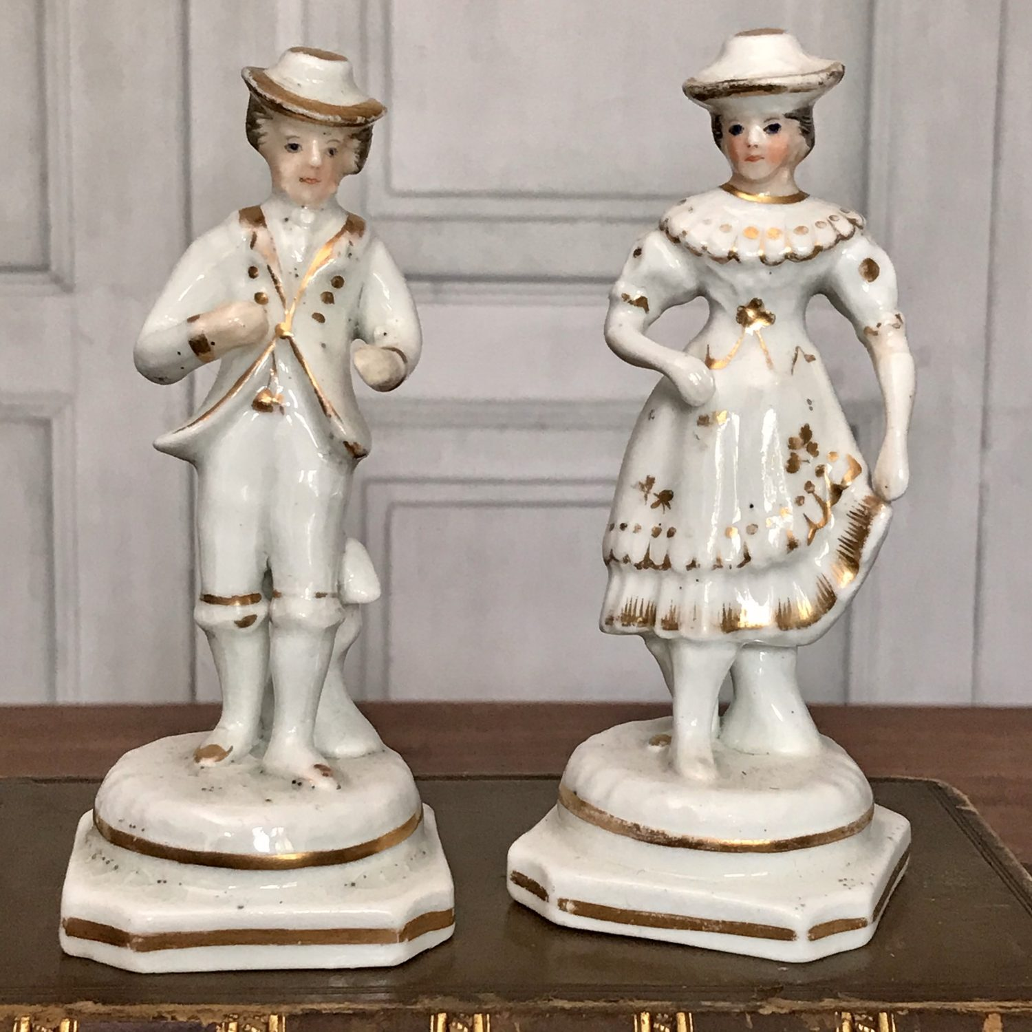 Pair of Miniature Staffordshire Figures of Dancers.