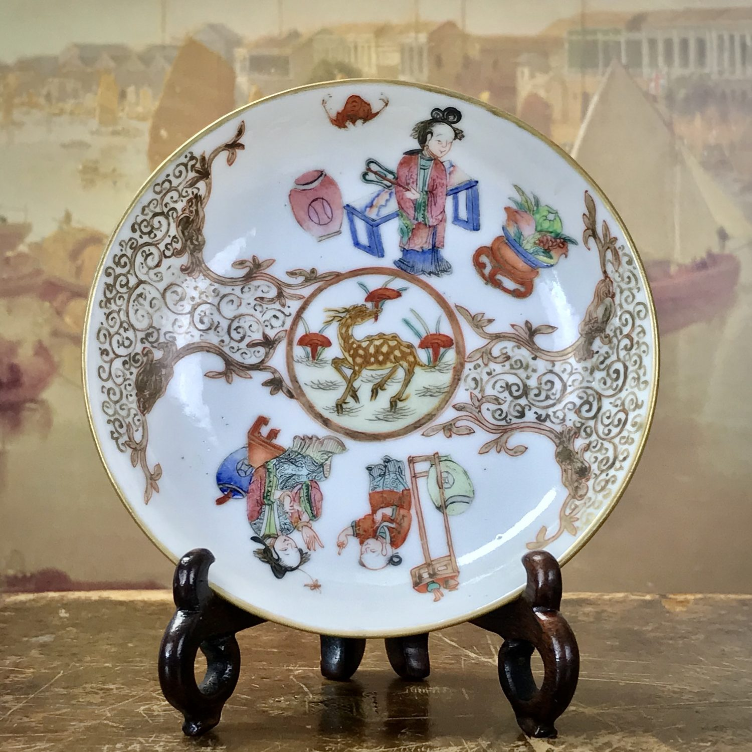 C18th Chinese Export Porcelain Famille Rose Saucer.