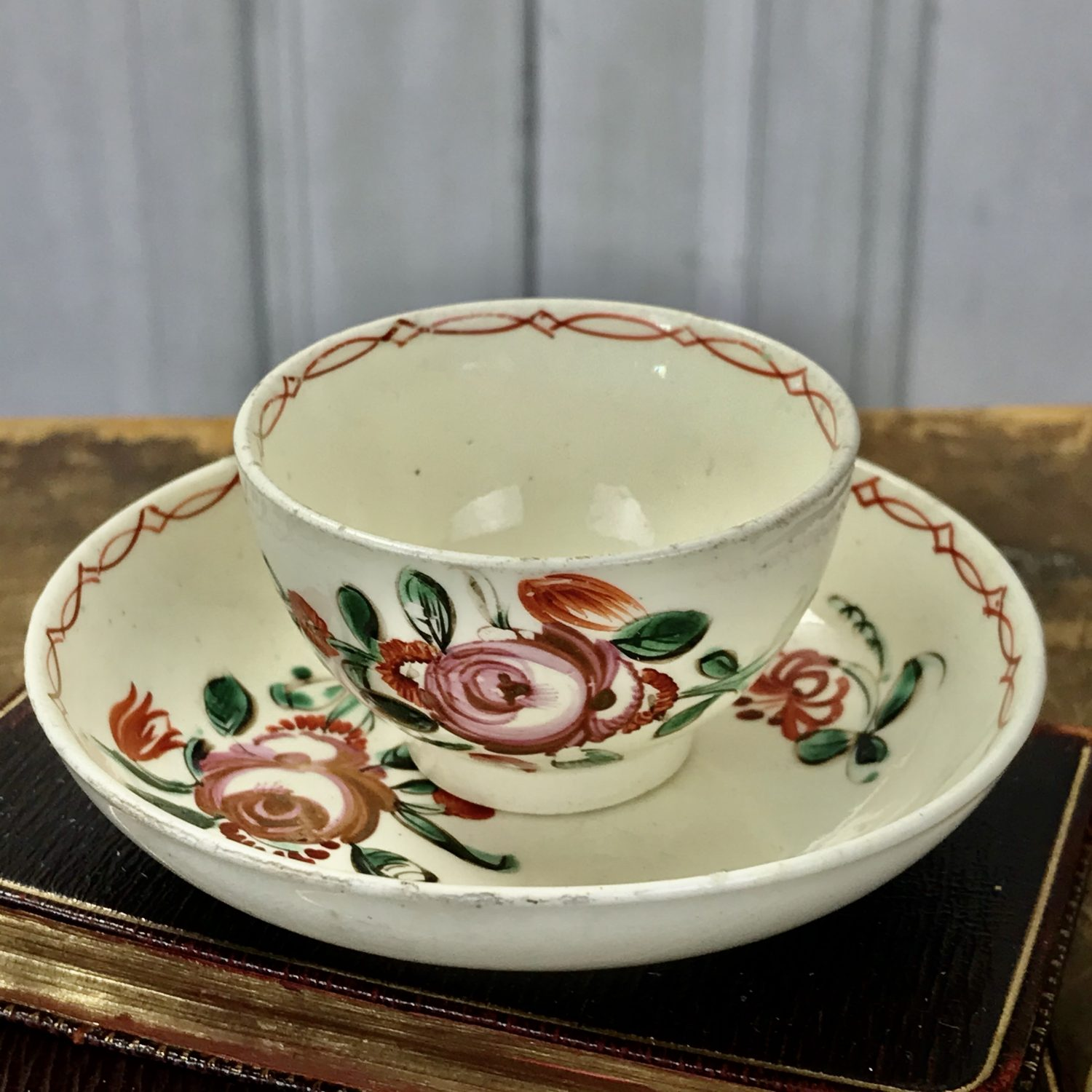 English Creamware Miniature Tea Bowl & Saucer, c1785.