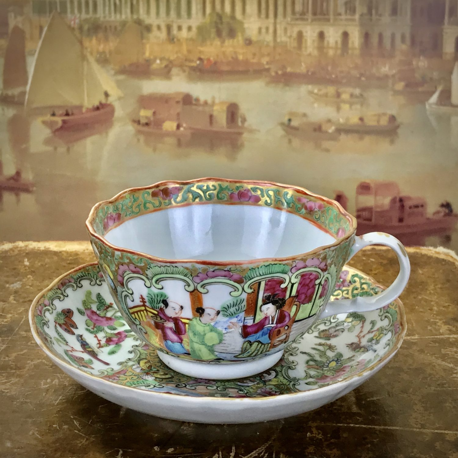 Chinese Export 'Rose Medallion' Tea Cup & Saucer