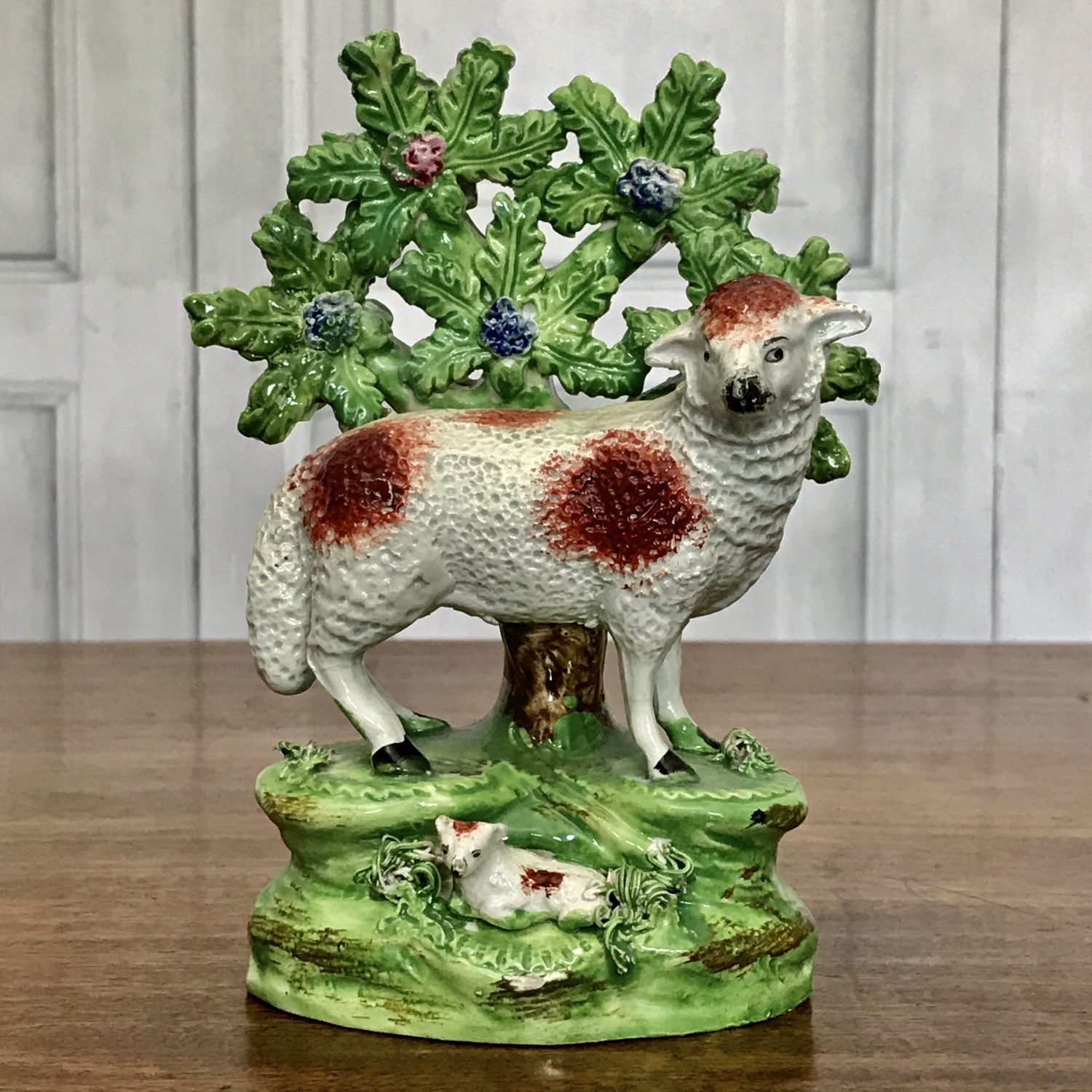 Staffordshire Pottery Ewe With Bocage.