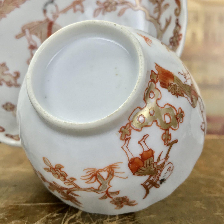 Chinese Export Porcelain Rouge de Fer Tea Bowl & saucer, c1750