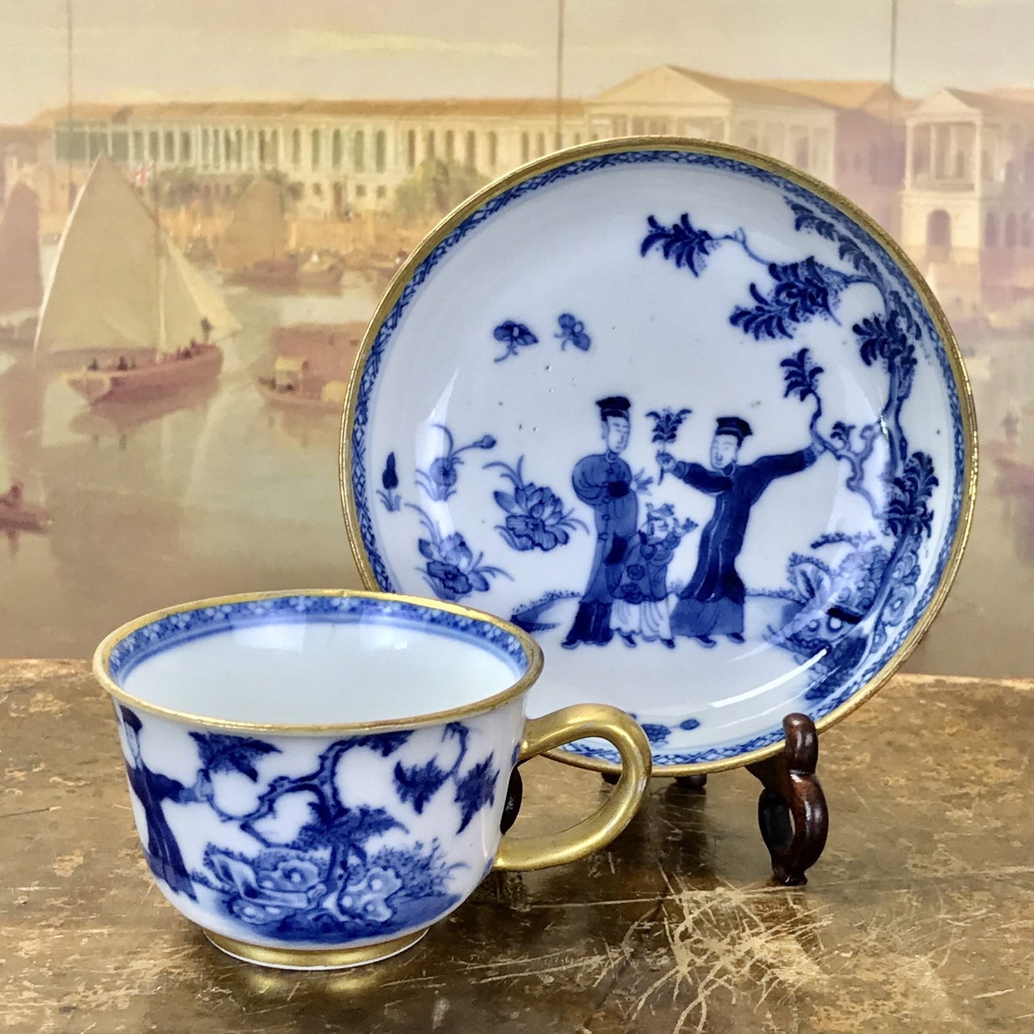 Unusual C18th Chinese Export Porcelain Tea Cup & Saucer.