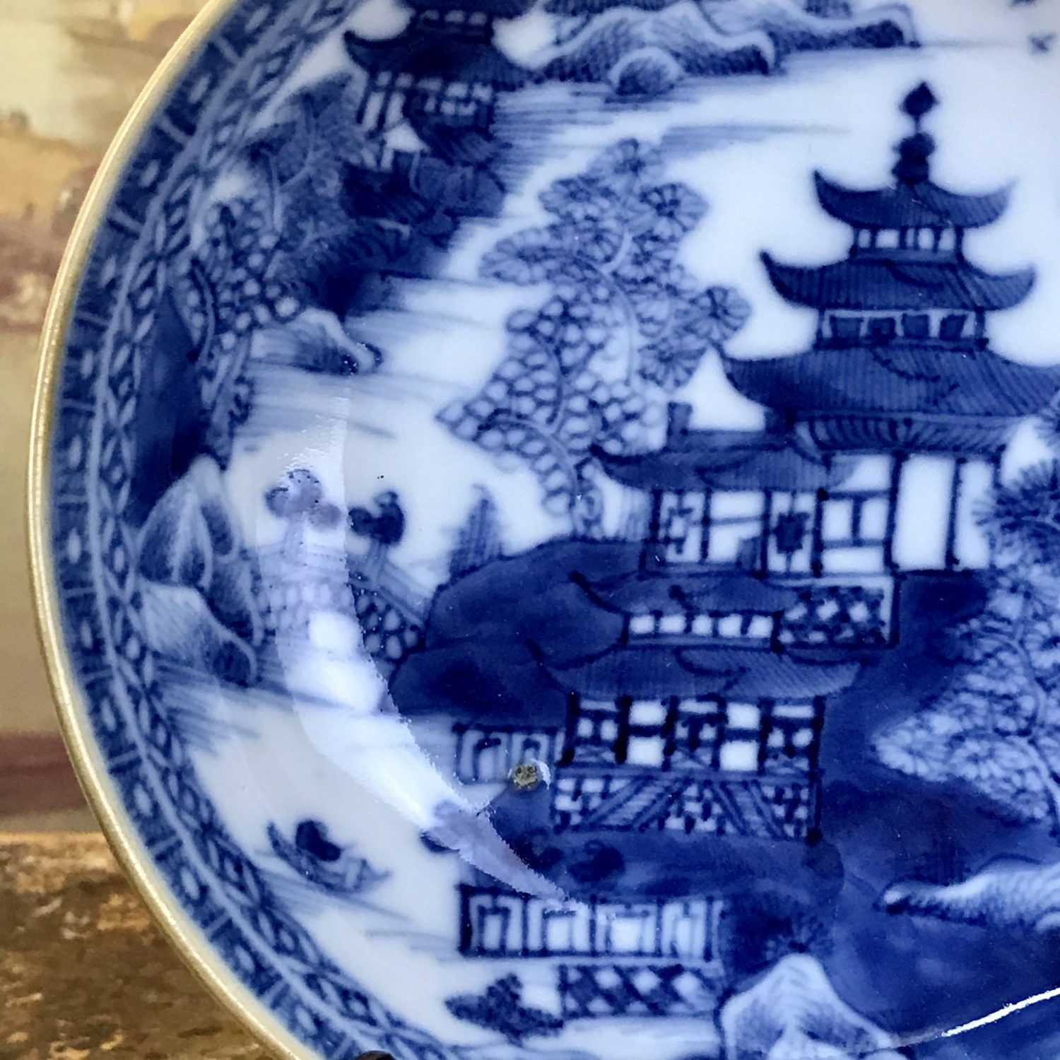Chinese Export Blue & White Saucer.