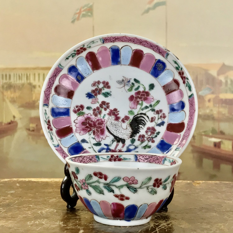 Famille Rose tea bowl & saucer. QIANLONG